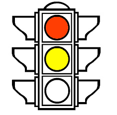 A traffic light with the read and yellow lights on, , representing the Litigation Readiness/Preparedness Assessment for eDiscovery stage 2