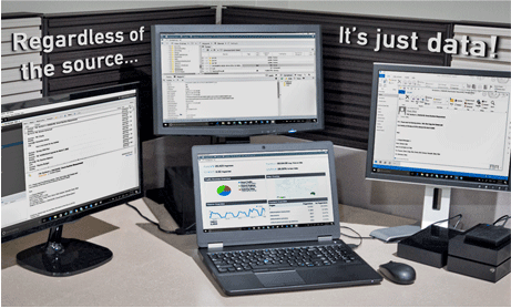 "Four computer screens displaying screens of information with the phrase ""Regardless of the source... it's just data!"" written around them. REW Computing offers eDiscovery support for Newmarket, Toronto, the GTA, and Ontario, Canada."