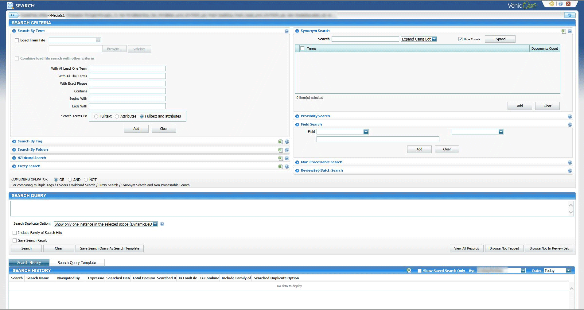 The VenioOne search interface showing various options. The NearZero Discovery service offered by REW Computing includes full end-to-end eDiscovery services for Newmarket, Toronto, the GTA, and Ontario, Canada. ( near zero discovery or nearzerodiscovery )
